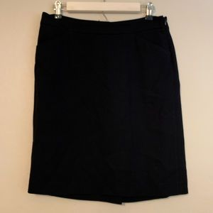 Theory black wool blend pencil skirt w/side zip